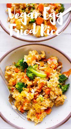 Vegan Egg Fried Rice Rice Recipes, Asian Recipes, New Recipes, Ethnic Recipes, Vegan Egg, Vegan Vegetarian, Vegetarian Recipes, One Skillet Meals, Hidden Veggies