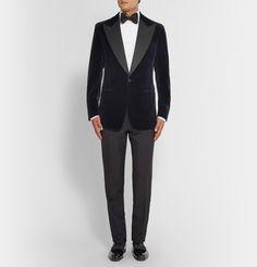 Tom Ford - Navy Slim-Fit Velvet Tuxedo Jacket | MR PORTER