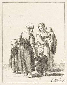 Pieter de Mare | Twee moeders in gesprek, Pieter de Mare, 1777 - 1779 | Twee moeders praten met elkaar. De een draagt een baby op de arm. De andere houdt twee kinderen bij de hand.