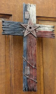 GOD BLESS TEXAS with STAR and Barb wire Cross Red, white , blue home decor