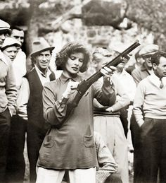 Catherine Hepburn with a bolt action rifle