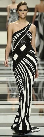 WOW....black and white runway fashion gown.