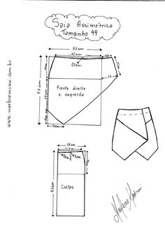 Pattern Draft for Asymetrical Skirt Size They Also Have Pattern Drafts in…