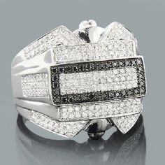 14k White Gold Round Cut Engagement Mens Wedding Black White Diamond Ring Bands #2jewelauction #WeddingBand