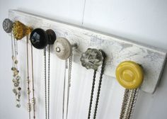 Do this: necklace holder make of antique door knobs