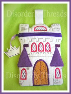 Castle Zippered Bag! Every Princess needs one.  ITH In The Hoop Zippered Bag Machine Embroidery File