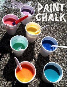 Homemade sidewalk paint chalk...goes on like paint & dries like chalk
