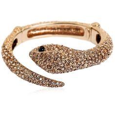 Roberto Cavalli Women Embellished Snake Bracelet ($700) ❤ liked on Polyvore featuring jewelry, bracelets, gold, snake bangle, rhinestone bangle, rhinestone jewelry, roberto cavalli and snake jewelry