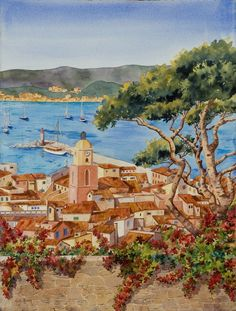 Harbor View, St Tropez, French Riviera, Seascape, French Landscape. Heidi Rosner watercolors feature landscapes, floral, botanicals, still lifes. Commissions available.
