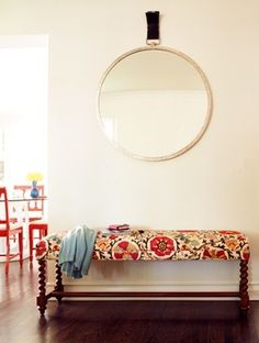 Upholstered bench boho