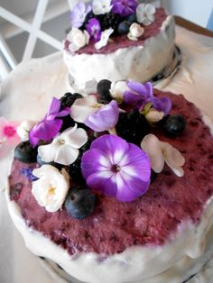 Raw Wedding Cake with blueberry lavender layer by Tilia's
