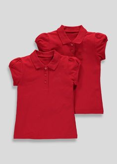 a7989b2b3 Girls 2 Pack embroidered School Polo Shirts (3-13yrs) – Red