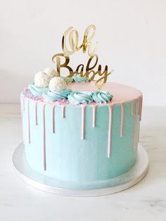 Gender reveal drip cake