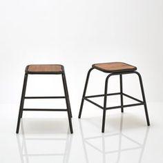 """2er-Set Hocker """"Hiba"""", Industrial-Style, Metall und Akazienholz La Redoute Interieurs - Tische und Stühle"""