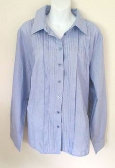 Coldwater Creek Size 2X Blouse Lightweight Cotton Blue Stripe Pin Tuck Button Up #ColdwaterCreek #Blouse #Career