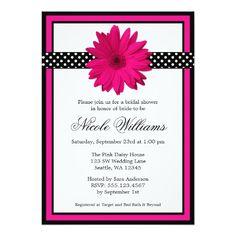 Pink Daisy Black Polka Dots Bridal Shower Invitations