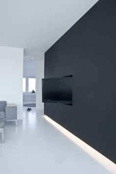 BLACK WALL. TV RECESS. 23 Examples Of Minimal Interior Design