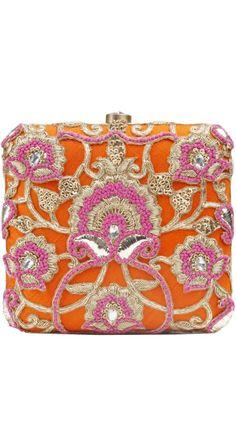 orange & fuchsia beautiful clutch