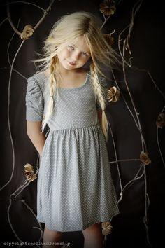 girls grey dress and cute hair
