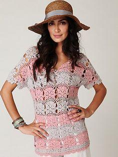 Crochetemoda: Crochet - Blusa Rosa e Cinza