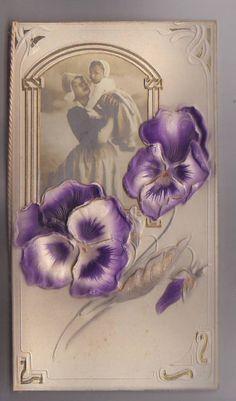 Vintage Stunning Die Cut Diecut Greeting Card Ephemera Victorian Scrap/PANSY