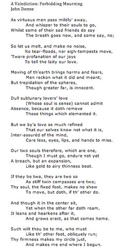 A Valediction Forbidding Mourning By John Donne MY FAVORITE POEM OF ALL TIME Lt