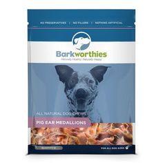 Barkworthies Natural Pig Pork Ear Medallions Chewable Pet Dog Chew Treats 12Pcs