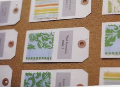 Wouldn't this be perfect for a fashion inspired wedding? Fabric swatches mounted on hang tags