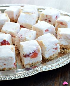 Strawberry Shortcake Fudge | These strawberry fudge pieces are a lighter take on the traditional chocolate.