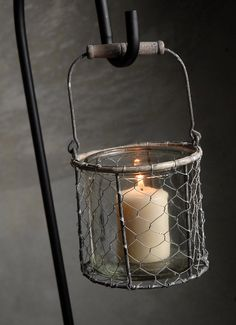 "5"" Chicken Wire Basket with Wood Handle and Glass Insert $5.29 each....WANT for outside lighting :)"