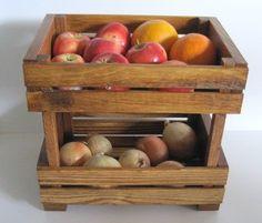 Wooden Crate Stackable Fruit or Vegie Holder. $45.00, via Etsy. Easy DIY i am sure.