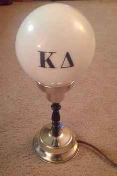 "14"" Vintage Glass Bar Style Globe Table Light Lamp. Kappa Delta"