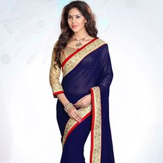 Dark #Blue Faux Georgette #Saree with Blouse