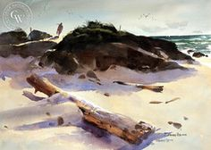 Vernon Nye - Summer Day, c. 1950s - California art - fine art print for sale, giclee watercolor print - Californiawatercolor.com