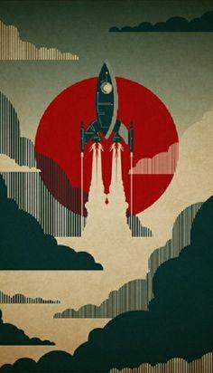 Retro Rocket Phone Wallpaper