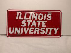 Vintage Illinois State University Metal License Plate Red White