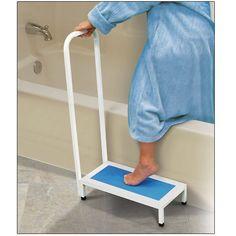Non-Slip Bath Step with Handle - Bathroom Accessories - MaxiAids