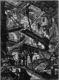 "Giovanni Battista Piranesi. Untitled etching (called ""The Drawbridge""), plate VII (of 16) from the series The Imaginary Prisons (Le Carceri d'Invenzione), Rome, 1761 edition"