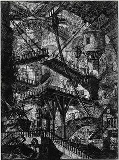 "Giovanni Battista Piranesi. Untitled etching (called ""The Drawbridge""), plate VII (of 16) from the series The Imaginary Prisons (Le Carceri d'Invenzione), Rome, 1761 edition"