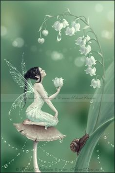 Title: Lily of the Valley    Lily of the Valley is part of my flower fairy series. A lovely fairy sits upon a mushroom, catching dewdrops from the