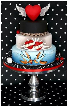 Ooooohhhh I Love Rockabilly Wedding Cake Two Become One - Rockabilly birthday cake