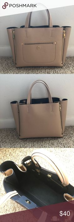 """Ann Taylor Mini Pebbled Signature Handbag Classy blush mini pebbled signature handbag. Excellent condition. It has a magnetic snap closure. Interior zipper pocket. Is NOT a cross body. Only has the handles shown.   Measurements: 11 1/2"""" W x 8""""H x 4""""D Ann Taylor Bags Totes"""