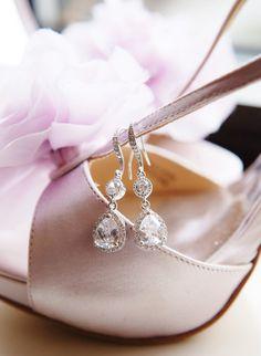 Wedding Jewelry Bridal Earrings Crystal Wedding Earrings Clear white Lux teardrop cubic zirconia Earrings Spring wedding bridesmaid gift