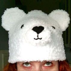 Bear Bear hat Crochet Bear hat Polar Bear hat white bear   Etsy Crochet Bear Hat, Penguin Hat, Cute Polar Bear, Halloween Hats, Animal Hats, Super Cute, Characters, Inspired, Etsy
