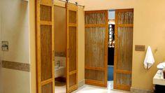 Luxury Bathroom Bamboo Barn Doors with Thatch Resin by TruStile, Denver