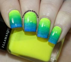 Neon green and blue ... Nail Art Design