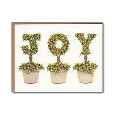 I designed and hand painted each topiary letter in the alphabet. This Joy with Berries Topiary notecard was created using the digital images of those original paintings,  The Joy notecards are 4.25 x 5.5 and are printed on a premium Strathmore stock. The set of 4 includes envelopes and is in a resealable cellophane package. All notecards are blank inside and have the artists name on the back.  Each of the paintings featured on Joy notecards are also available as a print…