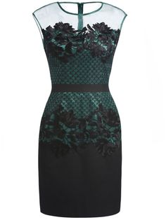Dark Green Round Neck Sleeveless Contrast Gauze Embroidered Dress $57.67