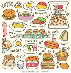 Set of Cute Meal and Dish Doodle Food Doodles, Kawaii Doodles, Cute Doodles, Cute Food Drawings, Cute Kawaii Drawings, Easy Drawings, Food Drawing Easy, Stickers Kawaii, Cute Stickers