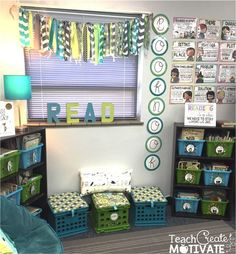 Teach Create Motivate : My Classroom Reveal! Teach Create Motivate : My Classroom Reveal! Classroom Layout, First Grade Classroom, New Classroom, Classroom Design, Classroom Organization, Classroom Ideas, Classroom Posters, Classroom Reading Nook, Cheap Classroom Decorations